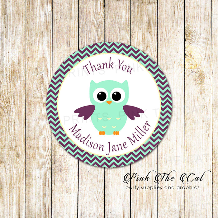 40 stickers owl favor label birthday baby shower mint purple