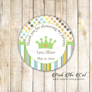 40 stickers prince favor label birthday baby shower yellow brown