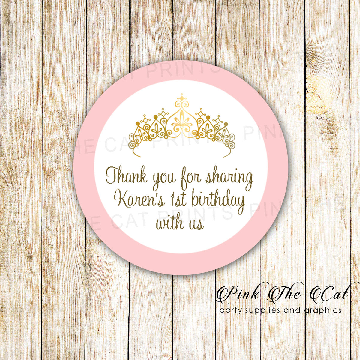 40 stickers princess label sticker birthday baby shower pink gold pink the cat