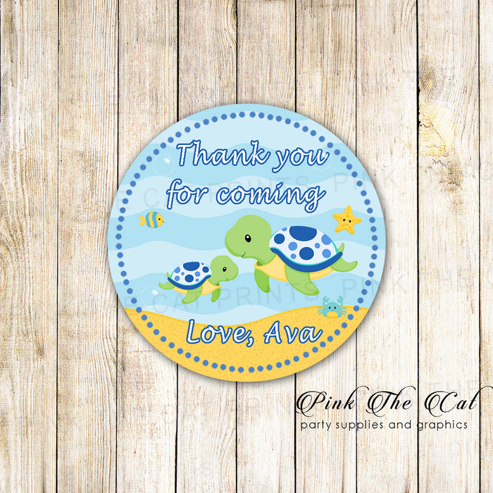 40 stickers turtle gift favor label sticker tag baby shower