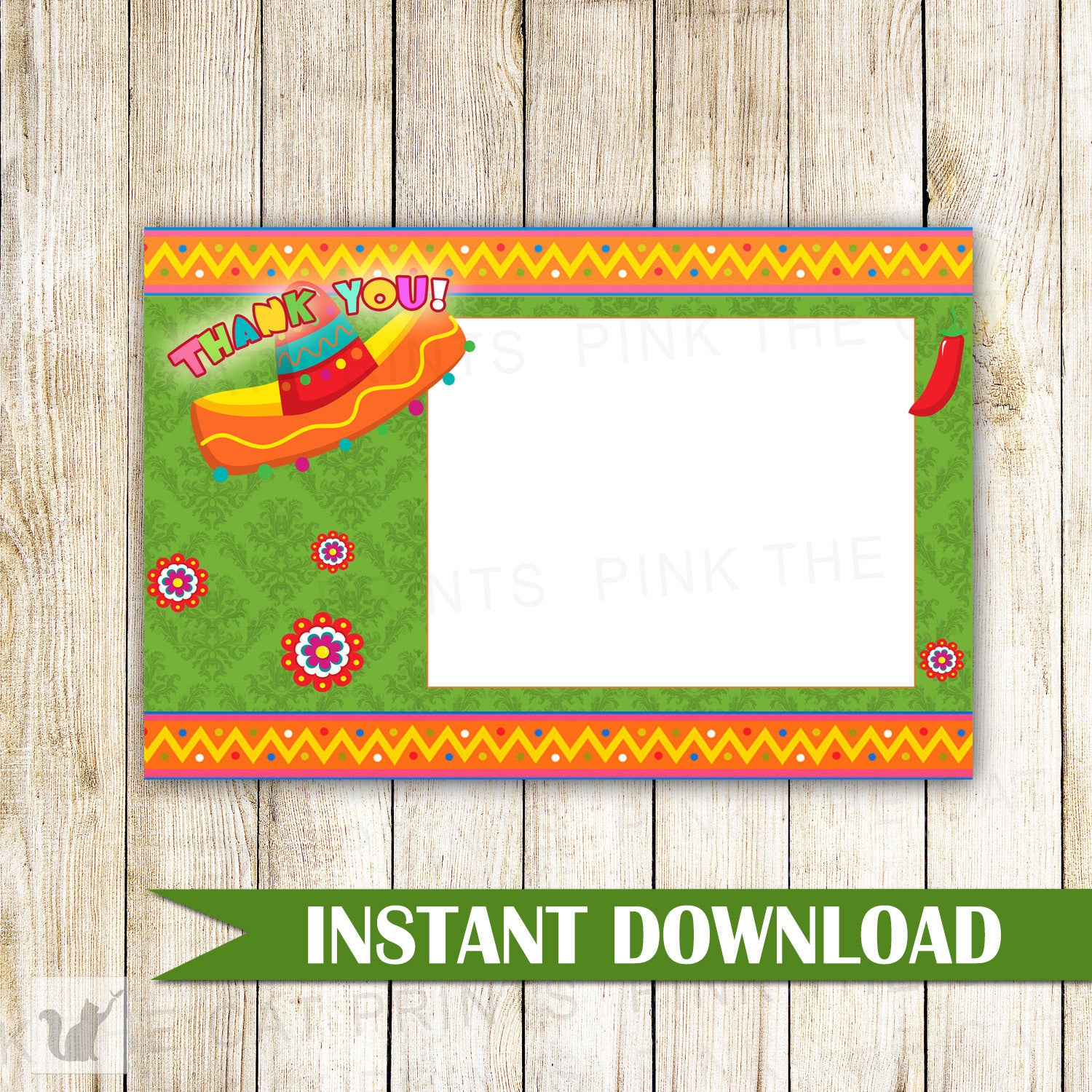 Mexican Fiesta Blank Thank You Card Note Printable Bridal Baby ...