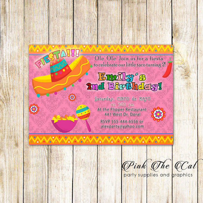 Mexican Invitation Fiesta Birthday Baby Shower Pink Printable