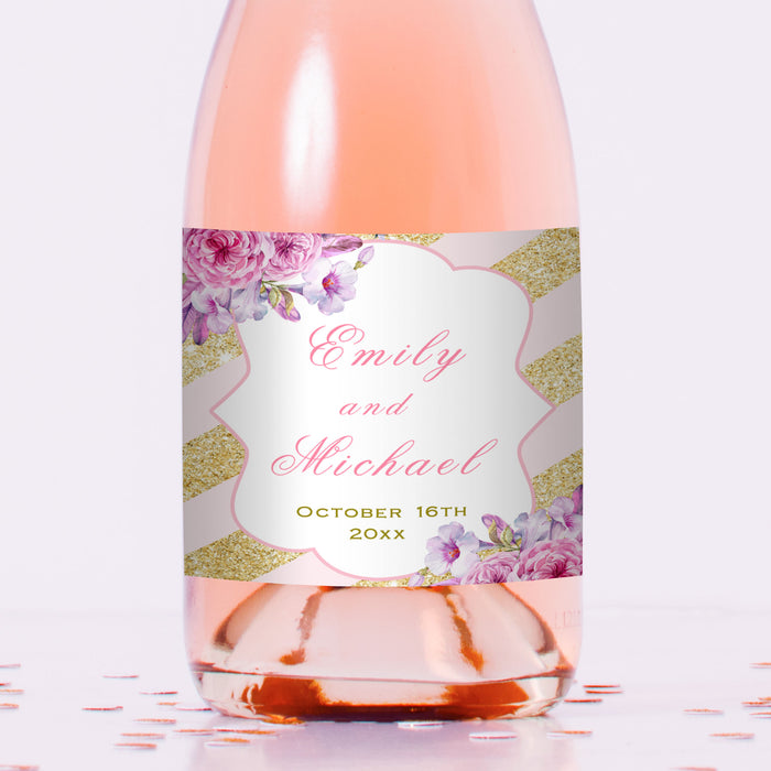 100 mini wine champagne bottle label sticker pink gold
