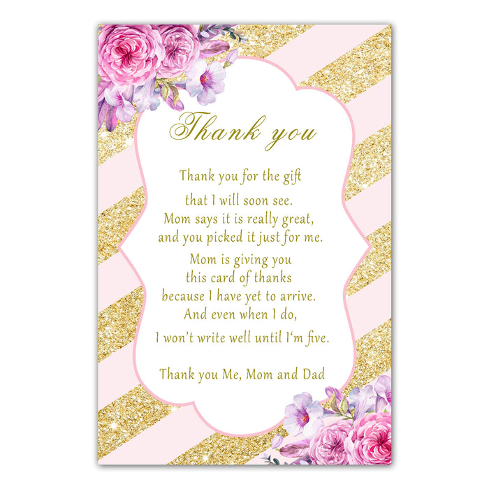 30 thank you cards blush pink gold floral baby shower girl