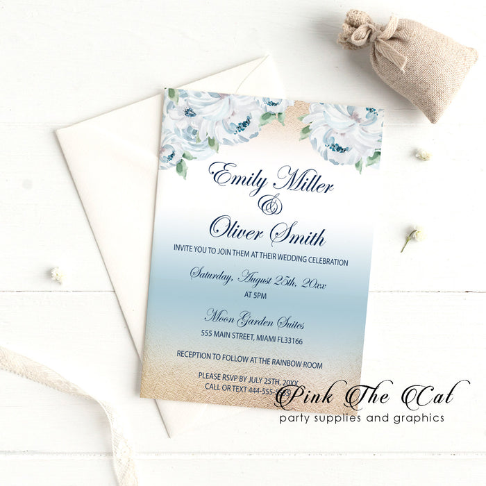 Floral blue gold wedding invitations (set of 100)