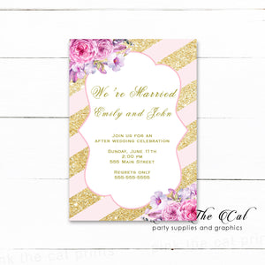100 after wedding celebration invitations bush pink gold floral