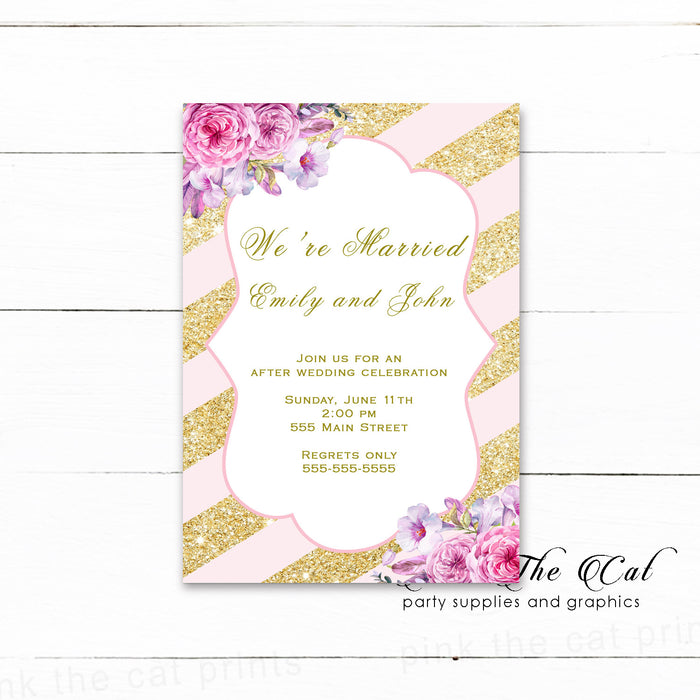 After wedding invitations pink gold floral (set of 100)