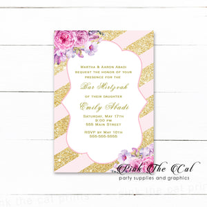 Bat mitzvah invitations birthday blush pink gold printable
