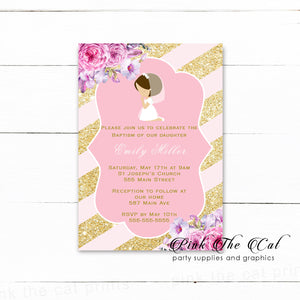 30 Girl praying first communion confirmation invitation pink gold
