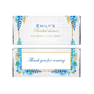 30 Candy bar wrappers floral blue gold wedding bridal shower