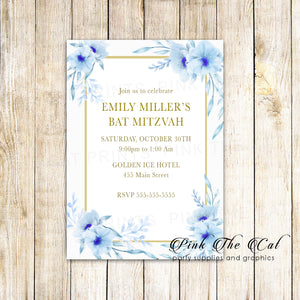 100 floral invitations bat mitzvah light blue gold personalized