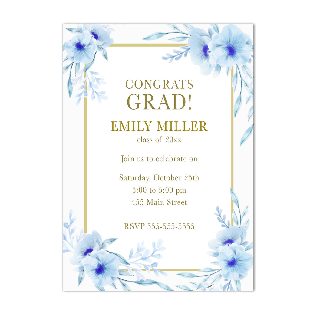 30 invitations floral light blue gold graduation personalized