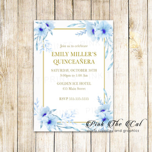 100 floral invitations sweet 16 quinceañera blue gold personalized cards