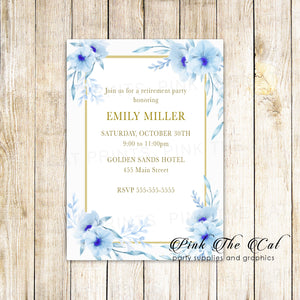 30 Floral retirement invitations blue gold personalized