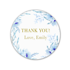 40 floral stickers birthday bridal shower blue gold