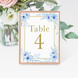 12 Table number cards printed floral light blue gold watercolor