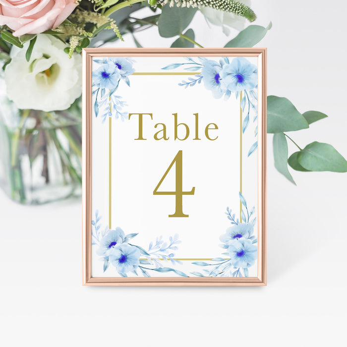 12 Table number cards floral blue gold
