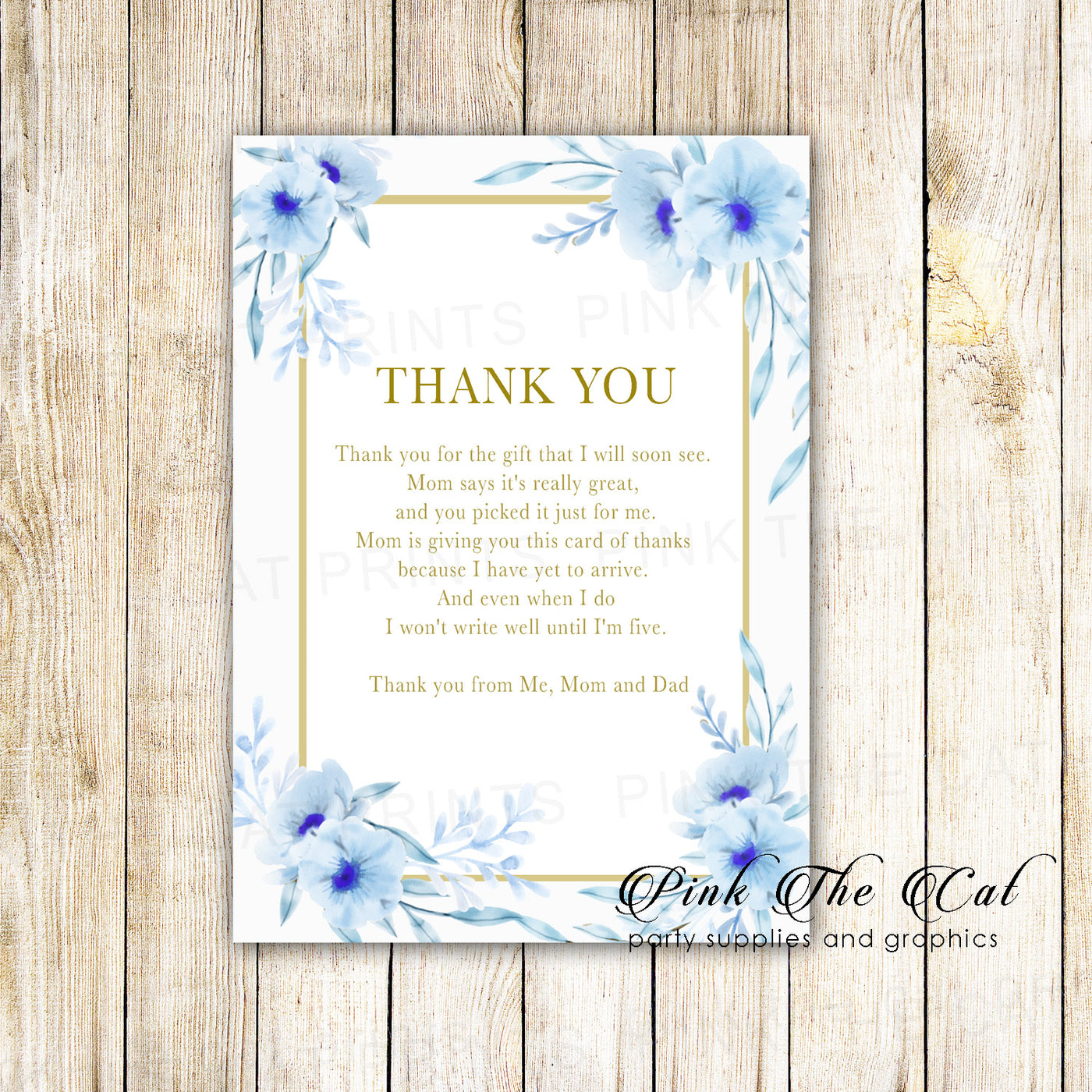 Pale Baby Blue Crystals Pretty Personalized Wedding Thank You Cards