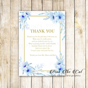30 baby shower thank you cards floral blue gold personalized