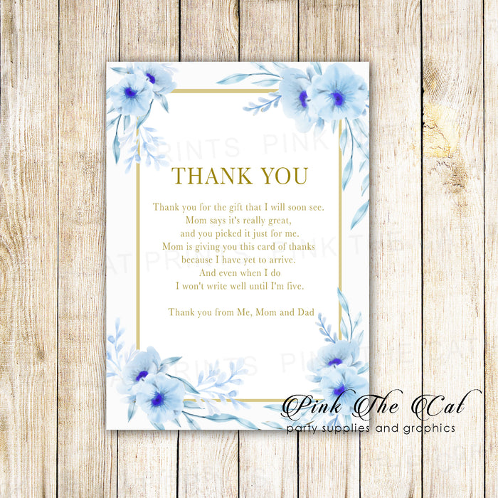30 baby shower thank you cards floral blue gold