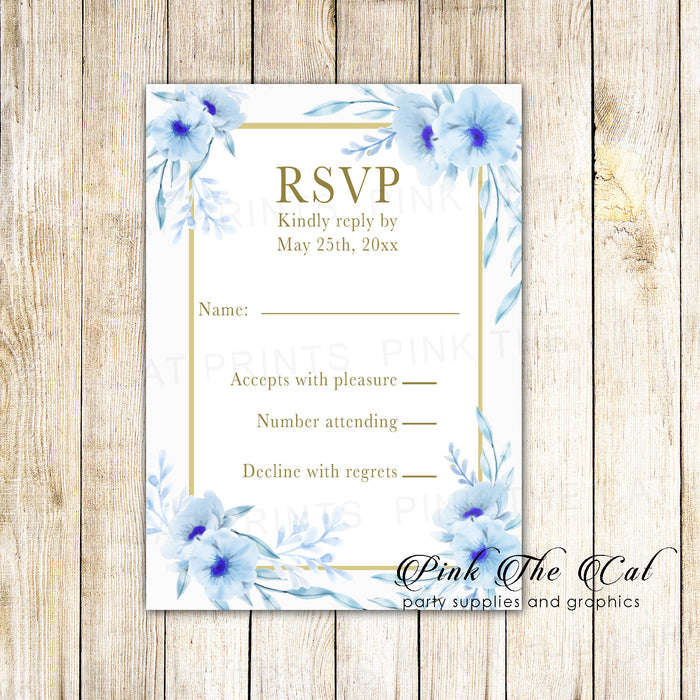 100 RSVP cards floral gold light blue