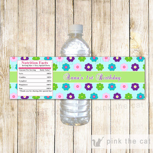 floral bottle label for girls
