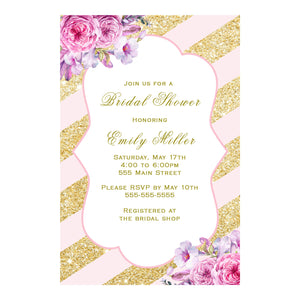 30 invitations wedding bridal shower glitter gold blush pink