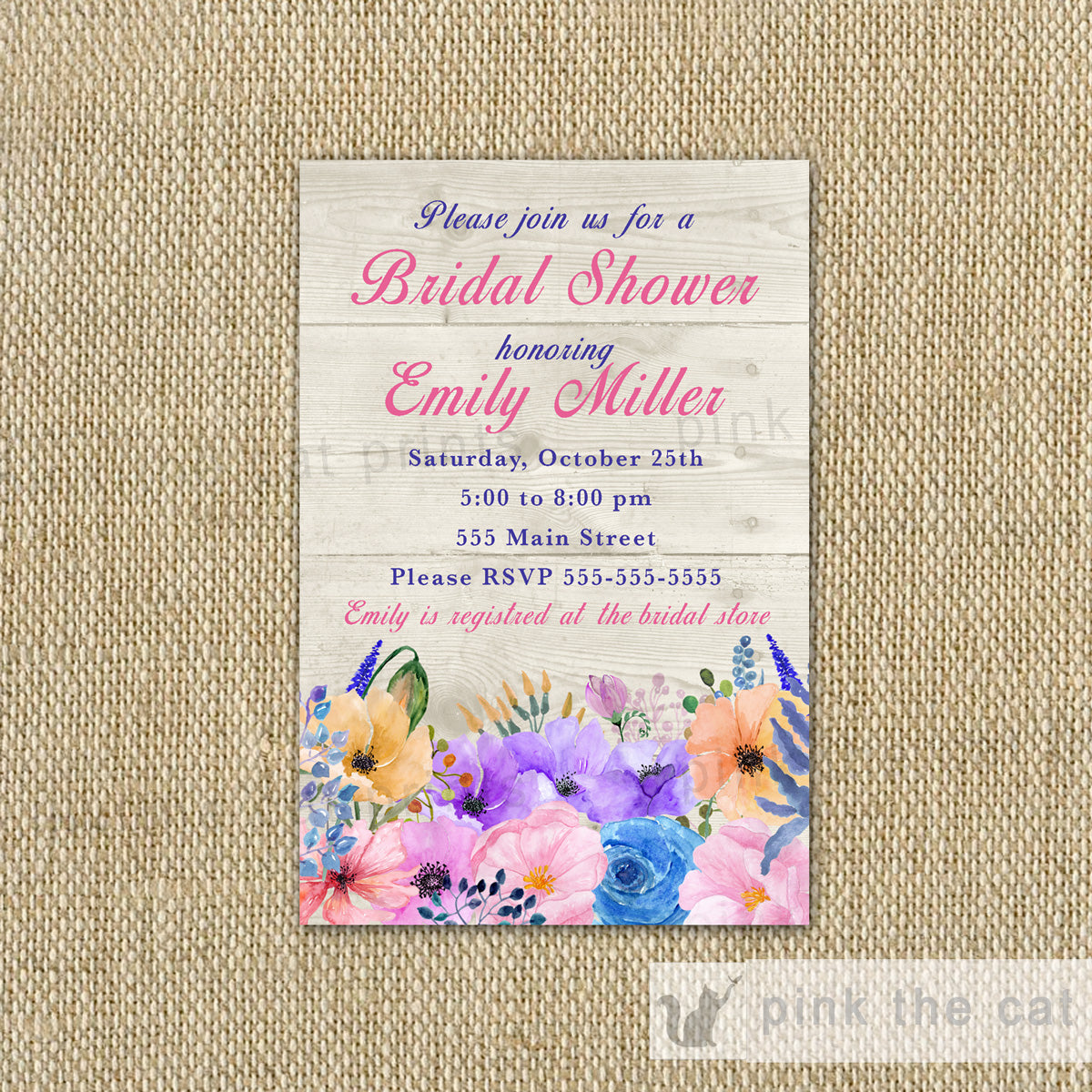 ea26511b63f4 Rustic Floral Bridal Shower Invitation Watercolor Printable Card – Pink The  Cat