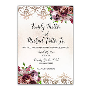 100 Floral Burgundy Gold Wedding Invitations Personalized