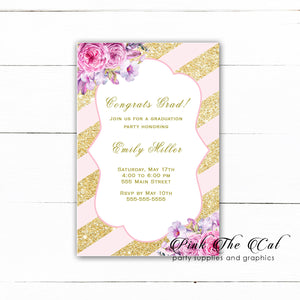 30 girl graduation invitations blush pink gold floral
