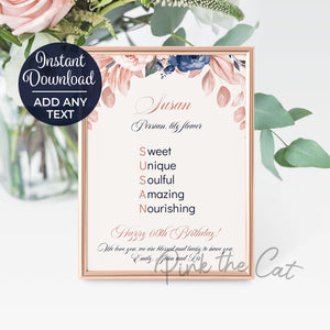 Name print floral blue pink printable