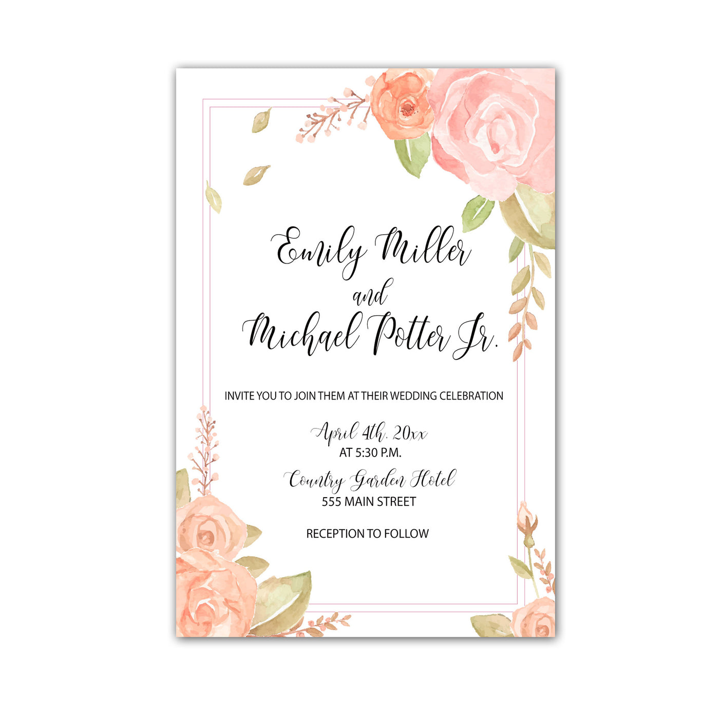 100 Floral Blush Pink Wedding Invitations Watercolor Personalized – Pink  the Cat