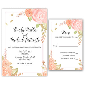 Wedding Invitations & RSVP Cards Floral Pink Printable