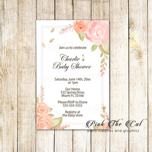 Blush pink floral invitations baby shower personalized printable