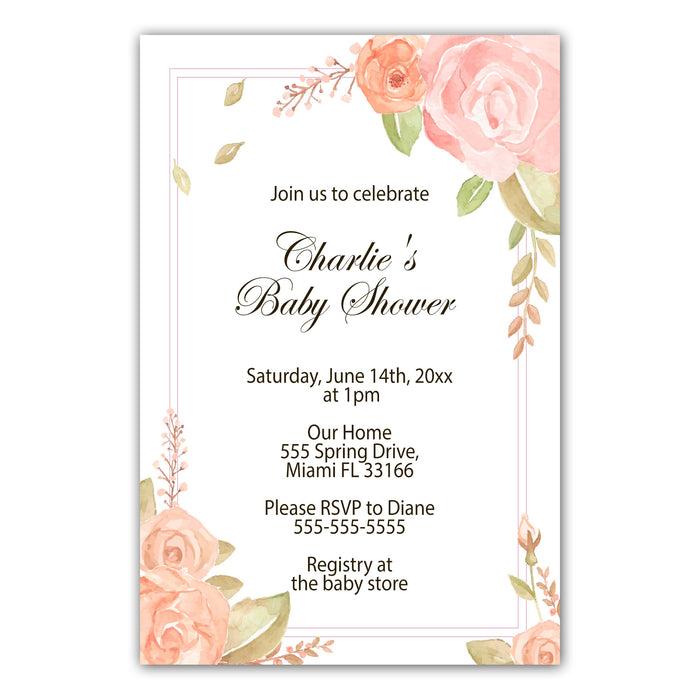 Blush pink floral invitations photo paper (set of 30)