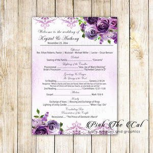 100 wedding programs purple floral personalized watercolor