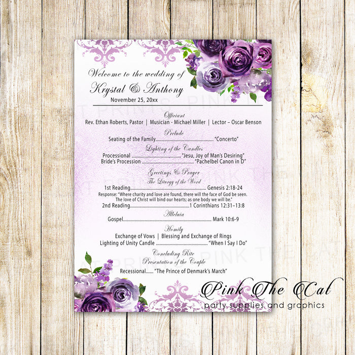 100 wedding programs purple floral