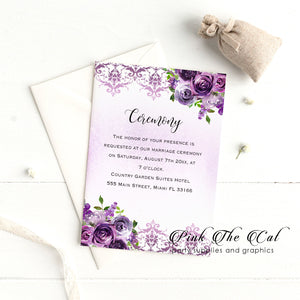 Purple floral ceremony card (set of 50)