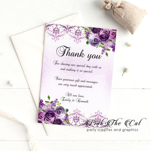 30 thank you cards purple floral wedding bridal shower wit envelopes