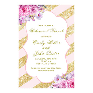 Rehearsal Dinner Invitation Blush Pink Gold Floral Printable
