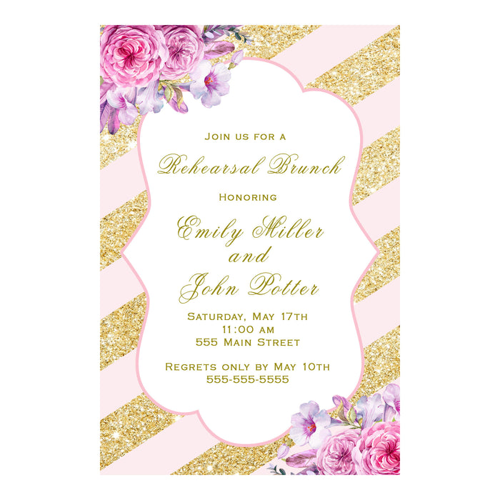 30 Rehearsal Dinner Invitation Blush Pink Gold Floral
