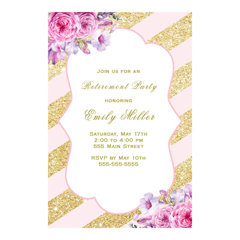 30 Invitations Retirement Party Blush Pink Gold Floral