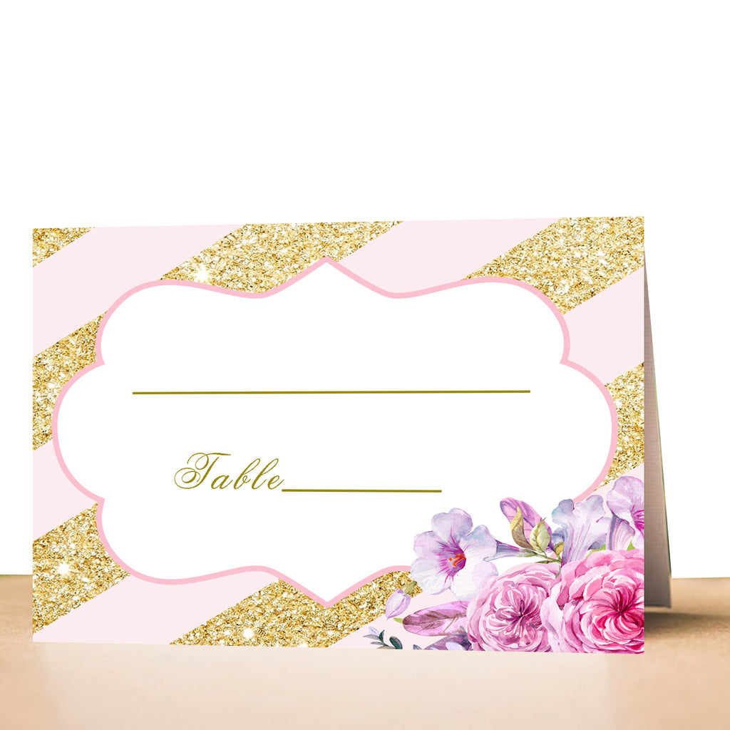 100 seating cards blush pink gold wedding birthday party