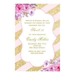 100 invitations sweet 16 quinceanera blush pink gold floral