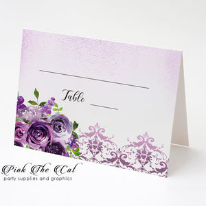 100 seating cards floral purple watercolor blank to hand write