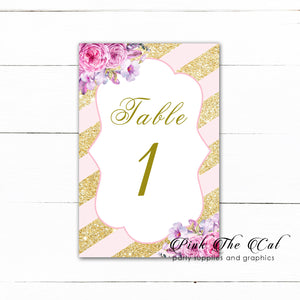 12 Table number cards wedding blush pink gold floral