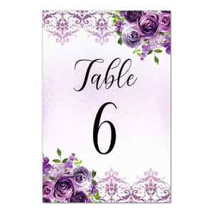 12 Table number cards floral purple