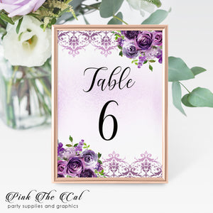 12 Table number cards floral purple lavender glitter wedding watercolor