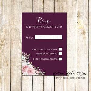 100 RSVP cards wedding floral burgundy blush pink