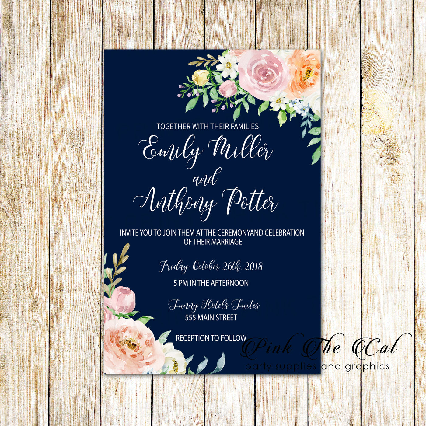 100 wedding invitations navy blue blush pink floral personalized – Pink the  Cat